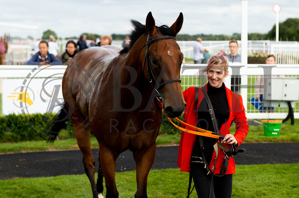Gilt Edge ridden by Rhiain Ingram and trained by Christopher Mason in the Sky Sports Racing Sky 415 Apprentice Handicap (Class 5) race. - Ryan Hiscott/JMP - 07/08/2019 - PR - Bath Racecourse - Bath, England - Race Meeting at Bath Racecourse