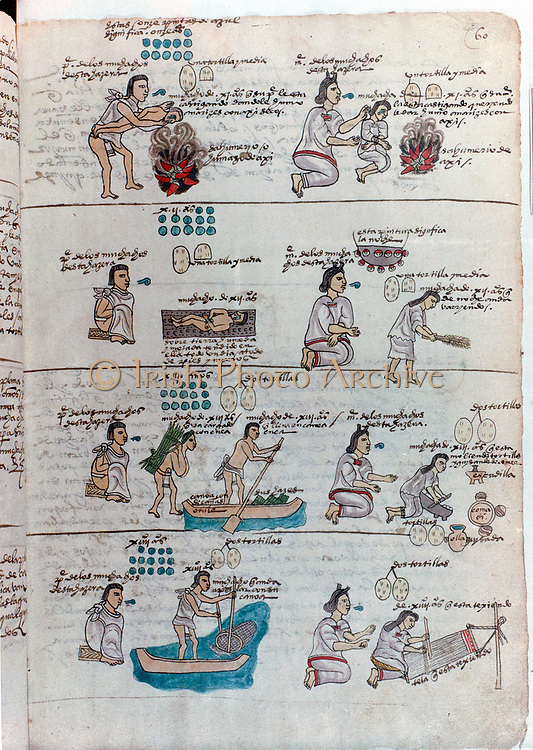 Aztec education of boys (left): boy punished by father who holds him over fire of burning chillies while lecturing him: stripped and thrown in muddy puddle in street, taught to carry loads and to paddle canoe, taught to fish. Education of girls (right): punished and lectured while breathing fumes of burning chillies, taught to grind maize, to sweep and to weave.