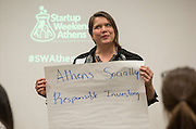 Michelle Wilson gives her pitch at Startup Weekend Athens at the Ohio University Innovation Center on March 18, 2016. Taylor came in second overall.
