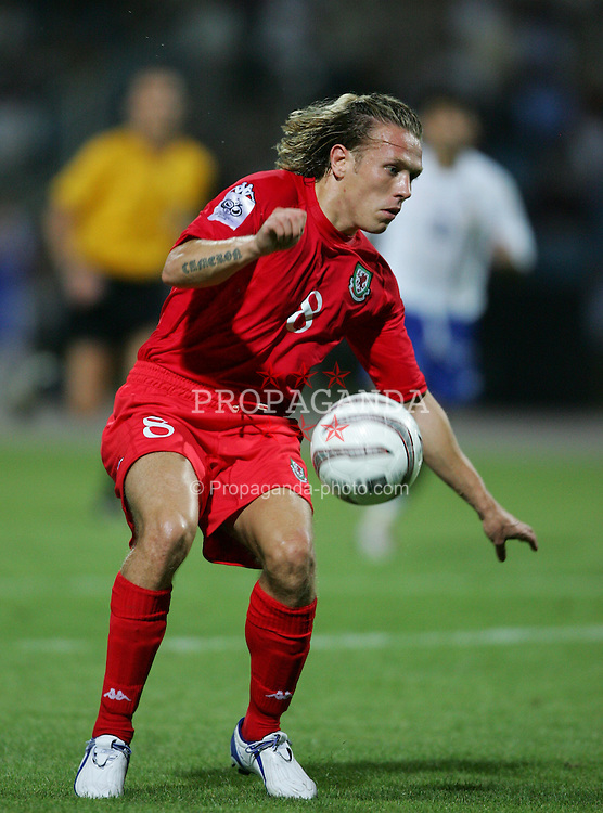 BAKU, AZERBAIJAN - SATURDAY SEPTEMBER 4th 2004: Wales' Craig Bellamy in action against Azerbaijan during the opening Group Six World Cup Qualifyer at the Tofig Bahramov Republican Stadium in Baku. (Photo by David Rawcliffe/Propaganda)