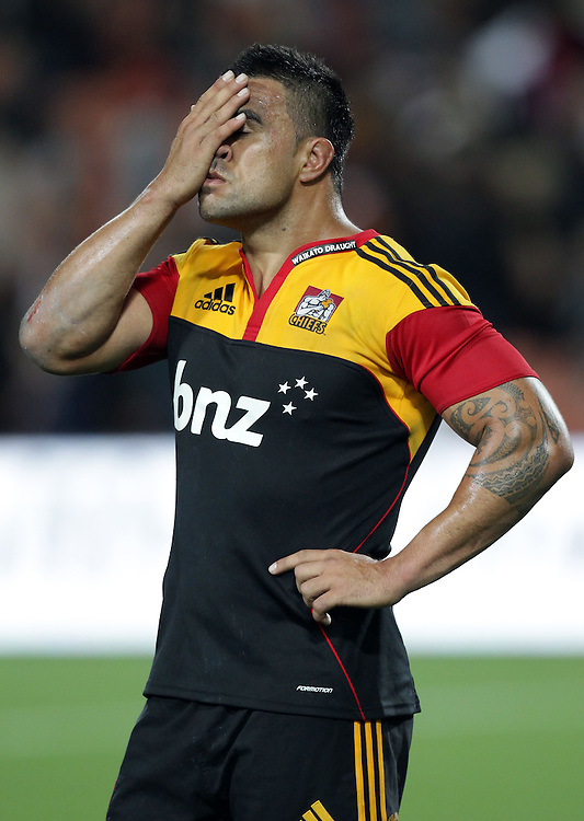 A despondent Chiefs' captain Liam Messam after losing to the Highlanders in a Super Rugby match, Waikato Stadium, Hamilton, New Zealand, Saturday, February 25, 2012.  Credit:SNPA / David Rowland