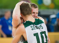 Martynas Pocius #13 of Lithuania and Renaldas Seibutis #10 of Lithuania celebrate after the basketball match between National teams of Lithuania and Croatia in Semifinals at Day 17 of Eurobasket 2013 on September 20, 2013 in Arena Stozice, Ljubljana, Slovenia. (Photo by Vid Ponikvar / Sportida.com)