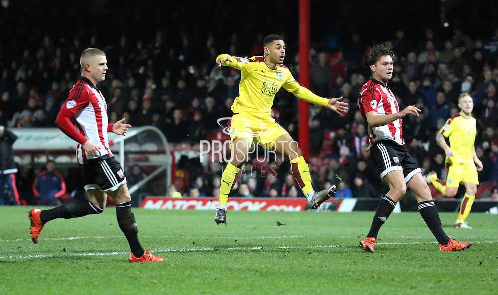 Burnley striker Andre Grey with a chance on goal during the Sky Bet Championship match between Brentford and Burnley at Griffin Park, London, England on 15 January 2016. Photo by Matthew Redman.