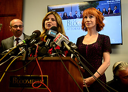 June 2, 2017 - Kathy Griffin and her attorney, Lisa Bloom, along with criminal defense attorney Dmitry Gorin held a news conference in Woodland Hills, CA., on June 2, 2017, to discuss the comedian's ''motivation'' behind a much-criticized photo of her holding what appeared to be the bloodied head of President Donald Trump, and respond ''to the bullying from the Trump family she has endured. (Credit Image: © Los Angeles Daily News via ZUMA Wire)