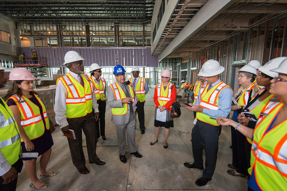 Members of the Houston ISD Bond Oversight Committee tour Sterling High School prior to their quarterly meeting, April 26, 2016.