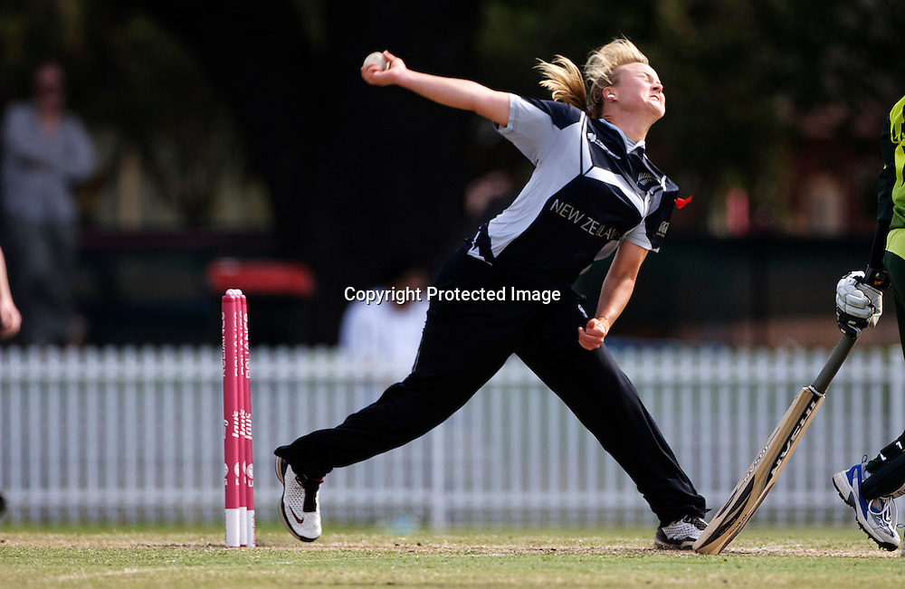 Sydney-March 19: Beth McNeill bowling during the match between New Zealand and Pakistan in the Super 6 stage of the ICC Women's World Cup Cricket tournament at Drummoyne Oval, Sydney, Australia on March 19, 2009. New Zealand won the match by 223 runs. Photo by Tim Clayton.