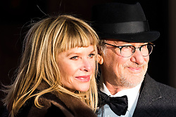 © Licensed to London News Pictures. 14/02/2016. London, UK.  KATE CAPSHAW and STEVEN SPIELBERG arrive on the carpet for the EE British Academy Film Awards 2016 after party held at Grosvenor House . London, UK. Photo credit: Ray Tang/LNPPhoto credit: Ray Tang/LNP