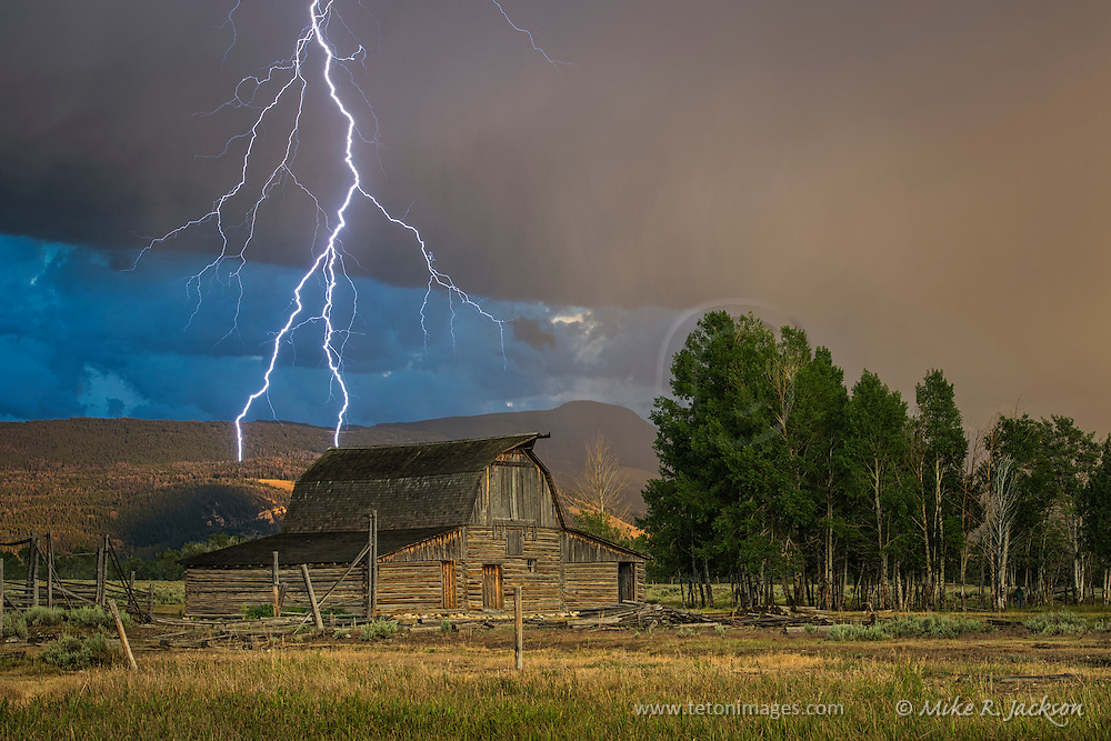 Lightning bolt from a late evening storm in Grand Teton National Park.