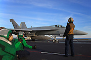 A Boeing F/A-18E Super Hornet, AC 403 166653 from VFA-105 'Gunslingers' prepares to catapult off the deck of CVN-75 USS Harry S. Truman for a mission.