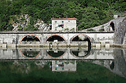 at the Maddalena Bridge at Bagni di Lucca, Tuscany, Italy. Also known as the Devil's Bridge
