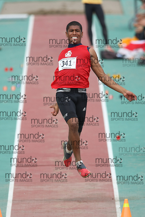 (Sherbrooke, Quebec---10 August 2008) Taylor Stewart competing in the youth boys long jump at the 2008 Canadian National Youth and Royal Canadian Legion Track and Field Championships in Sherbrooke, Quebec. The photograph is copyright Sean Burges/Mundo Sport Images, 2008. More information can be found at www.msievents.com.