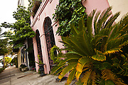 Rainbow row historic houses along Battery Street Charleston, SC.