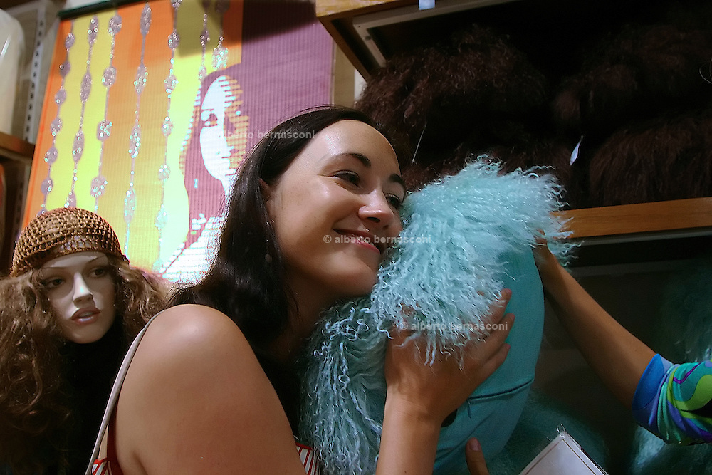"London, the author of the best seller ""I love shopping""  Sophie Kinsella shopping in Oxford Street at Topshop store"