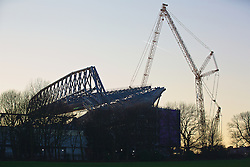 LIVERPOOL, ENGLAND - Wednesday, January 20, 2016: A view of the construction of the new Main Stand at Anfield as seen from Stanley Park before the FA Cup 3rd Round Replay match between Liverpool and Exeter City. (Pic by David Rawcliffe/Propaganda)