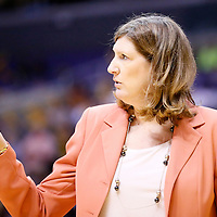03 August 2014: Connecticut head coach Anne Donovan is seen  during the Los Angeles Sparks 70-69 victory over the Connecticut Sun, at the Staples Center, Los Angeles, California, USA.