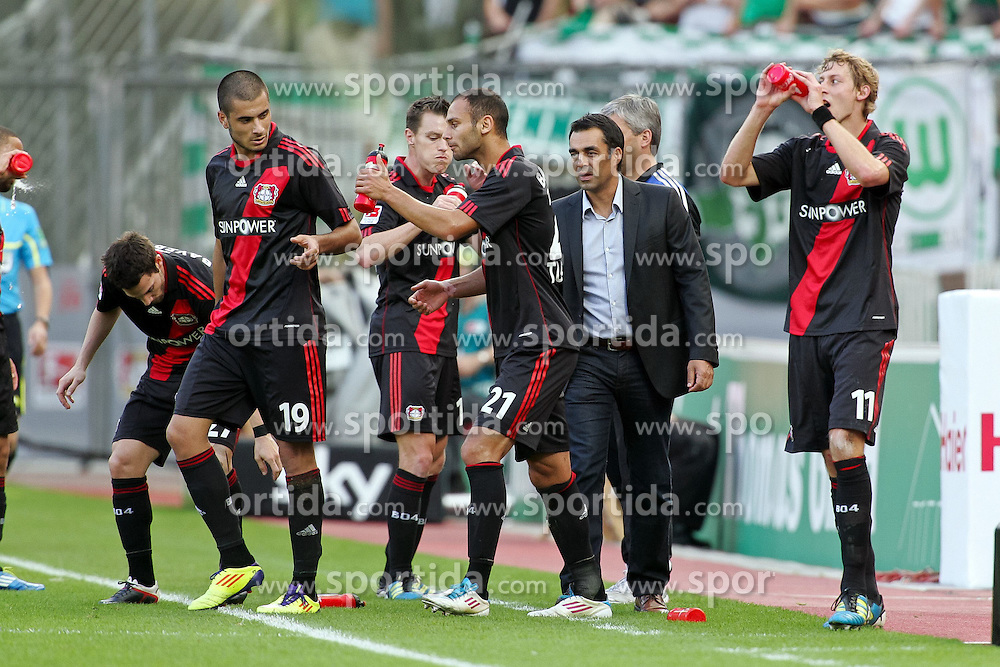 01.10.2011,  BayArena, Leverkusen, GER, 1.FBL, Bayer 04 Leverkusen vs  Vfl Wolfsburg, im Bild.Nach dem 1:0 durch Gonzalo Castro (Leverkusen #27) mit Robin Dutt (Trainer Leverkusen)..// during the 1.FBL, Bayer Leverkusen vs Vfl Wolfsburg on 2011/10/01, BayArena, Leverkusen, Germany. EXPA Pictures © 2011, PhotoCredit: EXPA/ nph/  Mueller *** Local Caption ***       ****** out of GER / CRO  / BEL ******