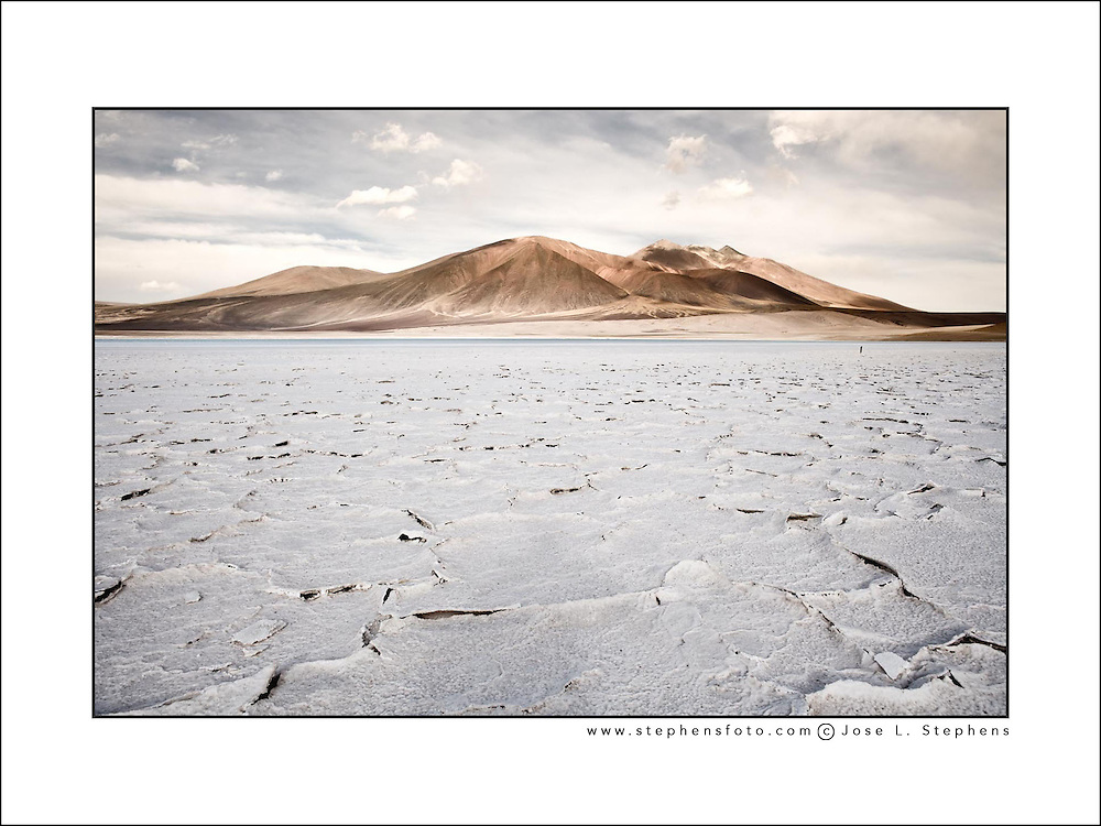 Salt crust in the shore of lagoon and salt lake Tuyajto, Altiplano (High Andean Plateau), Los Flamencos National Reserve, Atacama desert, Antofagasta Region, Chile, South America