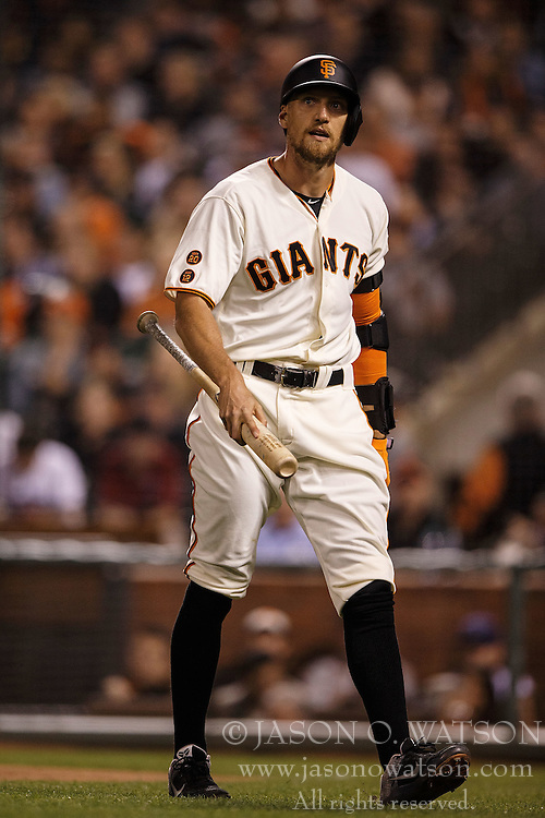 SAN FRANCISCO, CA - APRIL 18: Hunter Pence #8 of the San Francisco Giants returns to the dugout after striking out against the Arizona Diamondbacks during the fifth inning at AT&T Park on April 18, 2016 in San Francisco, California. The Arizona Diamondbacks defeated the San Francisco Giants 9-7 in 11 innings.  (Photo by Jason O. Watson/Getty Images) *** Local Caption *** Hunter Pence
