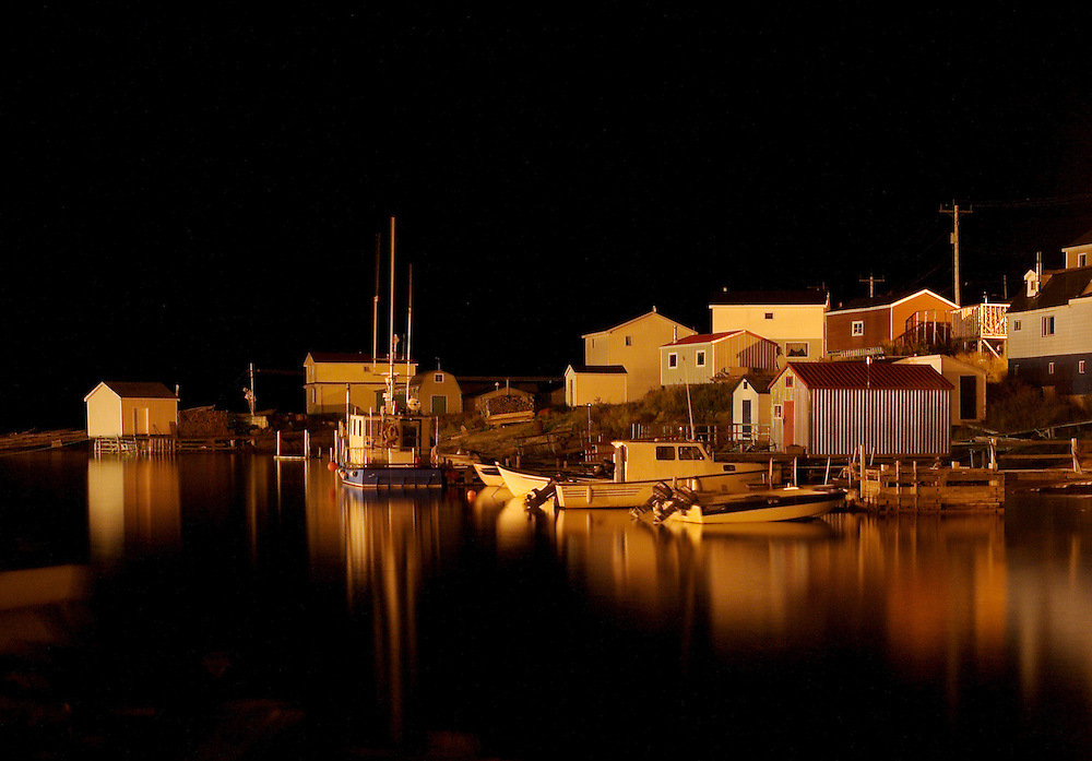 Harrington Harbour at Night.