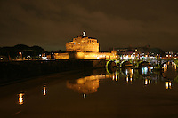Castel Sant Angelo at night in Rome Italy