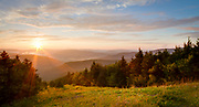 USA, West Virginia, Pocahontas County. Sunset over Snowshoe Mountain.