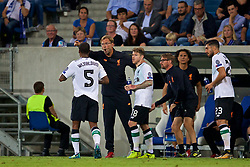 SINSHEIM, GERMANY - Tuesday, August 15, 2017: Liverpool's manager Jürgen Klopp reacts after his side's second goal during the UEFA Champions League Play-Off 1st Leg match between TSG 1899 Hoffenheim and Liverpool at the Rhein-Neckar-Arena. (Pic by David Rawcliffe/Propaganda)