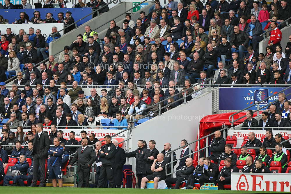 Cardiff City owner Vincent Tan (red shirt, top right) overlooks manager Ole Gunnar Solskjaer bottom left). Barclays Premier league match, Cardiff city v Crystal Palace at the Cardiff city stadium in Cardiff, South Wales on Saturday 5th April 2014.<br /> pic by Mark Hawkins, Andrew Orchard sports photography.