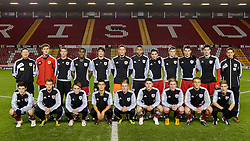 Bristol City U18 players pose for a team photo on the pitch before their FA Youth Cup Third Round Proper match against Ipswich Town U18s.