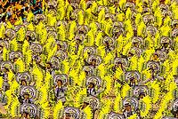 Carnaval parade of the Sao Clemente samba school in the Sambadrome, Rio de Janeiro, Brazil.
