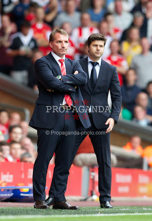 LIVERPOOL, ENGLAND - Saturday, September 21, 2013: Liverpool's manager Brendan Rodgers and Southampton's manager Mauricio Pochettino during the Premiership match at Anfield. (Pic by David Rawcliffe/Propaganda)