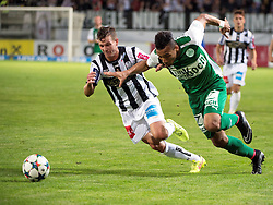 08.05.2015, Stadion der Stadt, Linz, AUT, 2.FBL, LASK Linz vs Mattersburg, während der Sky Go Erste Liga- Begegnung zwischen LASK Linz und SV Mattersburg am Freitag, 08. Mai 2015, in Linz, im Bild v.l. Daniel Kerschbaumer (LASK Linz), Karim Onisiwo (SV Mattersburg) // during Austrian Second Football Bundesliga 32th round Match between LASK Linz and Floridsdorfer AC at the Stadion der Stadt in Linz, Austria on 2015/05/08. EXPA Pictures © 2015, PhotoCredit: EXPA/ Reinhard Eisenbauer