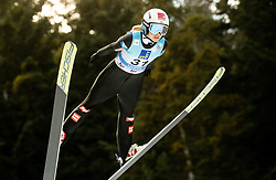 Chiara Hoelzl of Austria soaring through the air during 1st Round at Day 1 of World Cup Ski Jumping Ladies Ljubno 2019, on February 8, 2019 in Ljubno ob Savinji, Slovenia. Photo by Matic Ritonja / Sportida