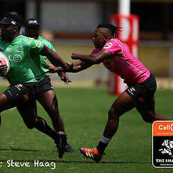 S'busiso Nkosi tackling Lwazi Mvovo of the Cell C Sharks during The Cell C Sharks training session at Jonsson Kings Park Stadium in Durban, South Africa. 6th February 2019 (Photo by Steve Haag)