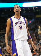 Feb. 4, 2011; Phoenix, AZ, USA; Phoenix Suns forward Channing Frye (8) reacts on the court against the Oklahoma City Thunder at the US Airways Center. The Thunder defeated the Suns 111-107. Mandatory Credit: Jennifer Stewart-US PRESSWIRE.