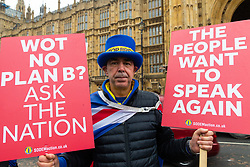 Ant-Brexit and People's Vote campaigner Steve Bray who has led the Remain demonstrations outside Parliament for the past two years, is up early following last night's vote which saw Prime Minister Theresa May's Brexit deal heavily outvoted by a margin of 230. London, January 16 2019.