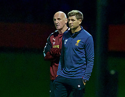 KIRKBY, ENGLAND - Friday, August 25, 2017: Liverpool's Under-18 manager Steven Gerrard and Newcastle United's coach Dave Watson during an Under-18 FA Premier League match between Liverpool and Newcastle United at the Kirkby Academy. (Pic by David Rawcliffe/Propaganda)