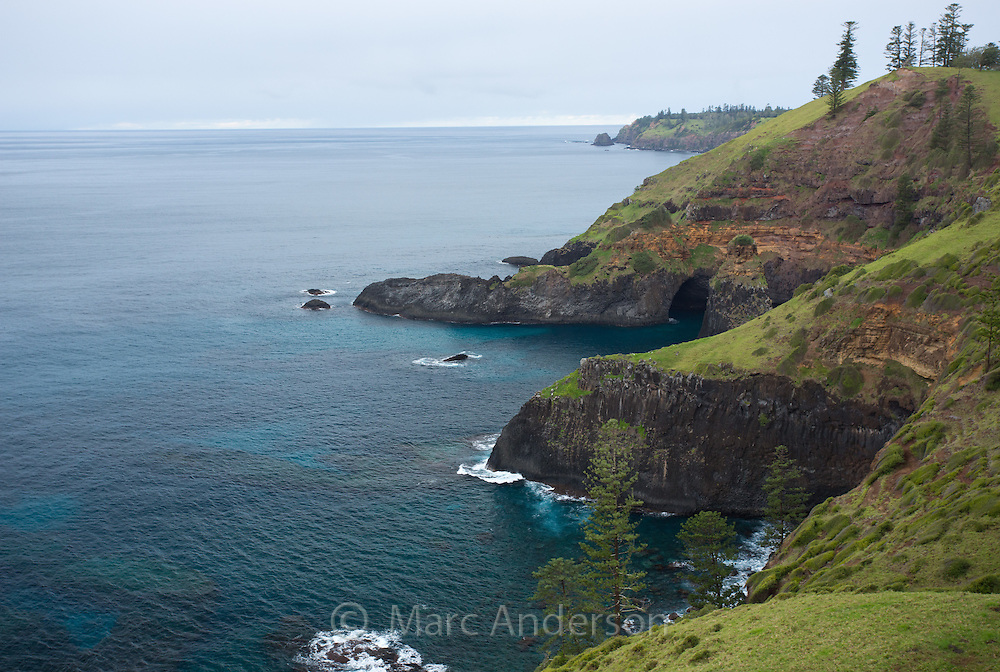 Rocky coastline of Norfolk Island, Australia