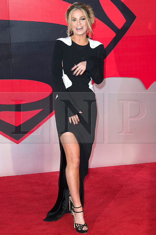 © Licensed to London News Pictures. 22/03/2016. SARAH HARDING attends the Batman V Superman: Dawn of Justice European film premiere. The film is based on the DC Comics characters. London, UK. Photo credit: Ray Tang/LNP