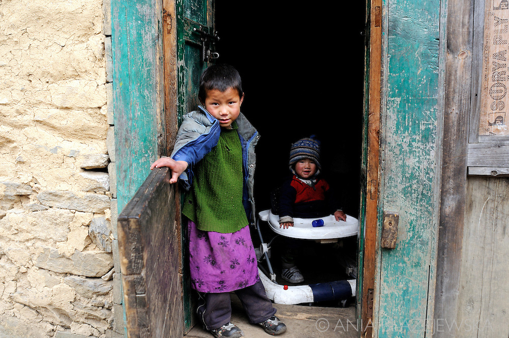 Nepal, Himalayas. Sherpa children from one of the mountain villages in the Everest region.