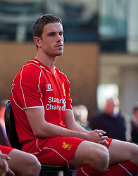 LIVERPOOL, ENGLAND - Thursday, April 10, 2014: Liverpool's Jordan Henderson at the launch of the new Warrior home kit for 2014/2015 at the Liverpool One shopping centre. (Pic by David Rawcliffe/Propaganda)