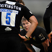 Wycombe. GREAT BRITAIN, Tom REES looks up to George SKIVINGTON during a break in play at the, Guinness Premiership game between, London Wasps and Leicester Tigers on 25/11/2006, played at the Adam Park, ENGLAND. Photo, Peter Spurrier/Intersport-images]