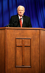 March 12th, 2006. New Orleans, Louisiana. <br /> Claiming this to be his last event preaching from the pulpit, the world's most famous evangelist, The Reverend Billy Graham addresses a capacity crowd at the New Orleans Arena as he brings his 'Celebration of Hope' weekend event to an end.<br /> Photo©; Charlie Varley/varleypix.com