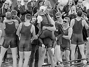 Henley on Thames. United Kingdom.  Sunday,  Final, supporters of Oxford Brookes University, rush to congratulate and celebrate with the crew after they win the  Temple Challenge Cup, 2016 Henley Royal Regatta, Henley Reach.   <br /> <br /> Sunday  03/07/2016<br /> <br /> © Peter SPURRIER<br /> <br /> NIKON CORPORATION  NIKON D500  f9  1/800sec  750mm  8.5MB