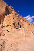 Afternoon light on two story ruin at Puye Cliff Dwellings, Santa Clara Pueblo Indian Reservation, New Mexico