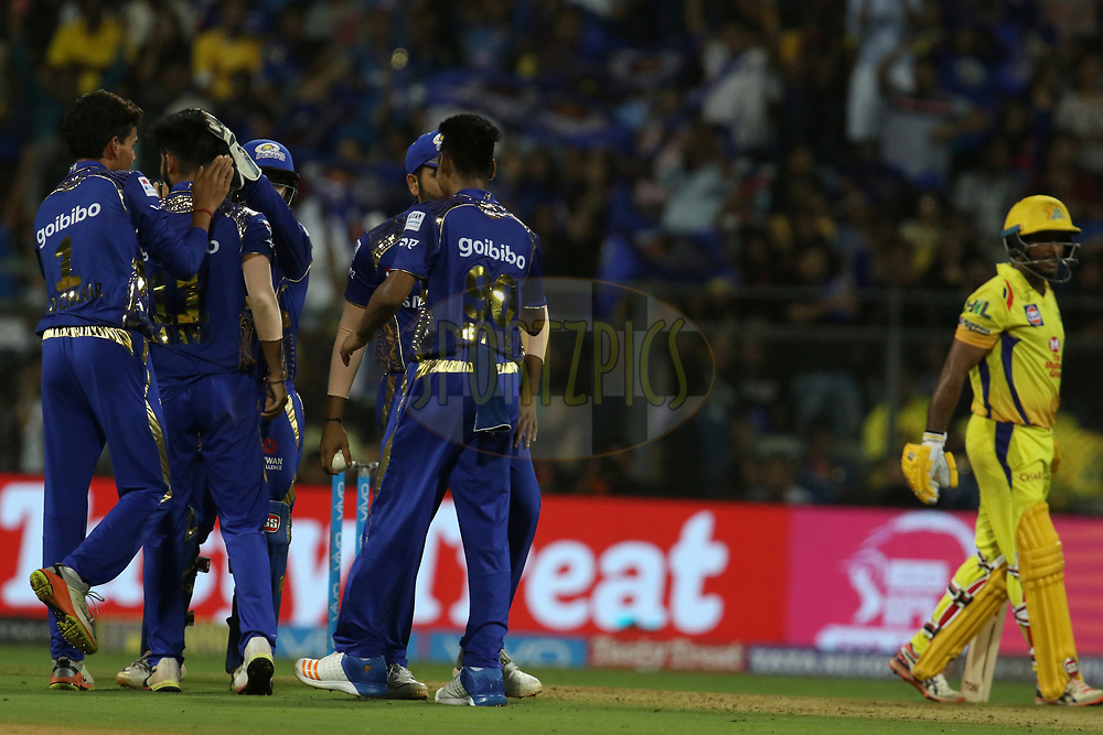 Mayank Markande of the Mumbai Indians along with the teammates celebrates the wicket of Ambati Rayudu of the Chennai Superkings  during match one of the Vivo Indian Premier League 2018 (IPL 2018) between the Mumbai Indians and the Chennai Super Kings held at the Wankhede Stadium in Mumbai on the 7th April 2018.<br /> <br /> Photo by Faheem Hussain / IPL / SPORTZPICS