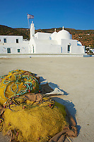 Grece, Cyclades, ile de Sifnos, village de Vathi et le monastere de Taxiarques // Greece, Cyclades islands, SIfnos, Vathi village and Taxiarques monastery