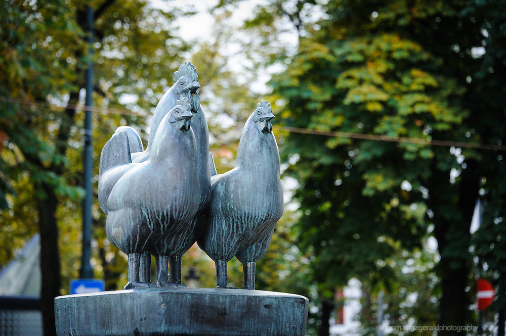 Oslo, Norway, October 2012: Hen Statue in a square in Oslo.EDITORIAL ONLY: This Image is only for Editorial Use