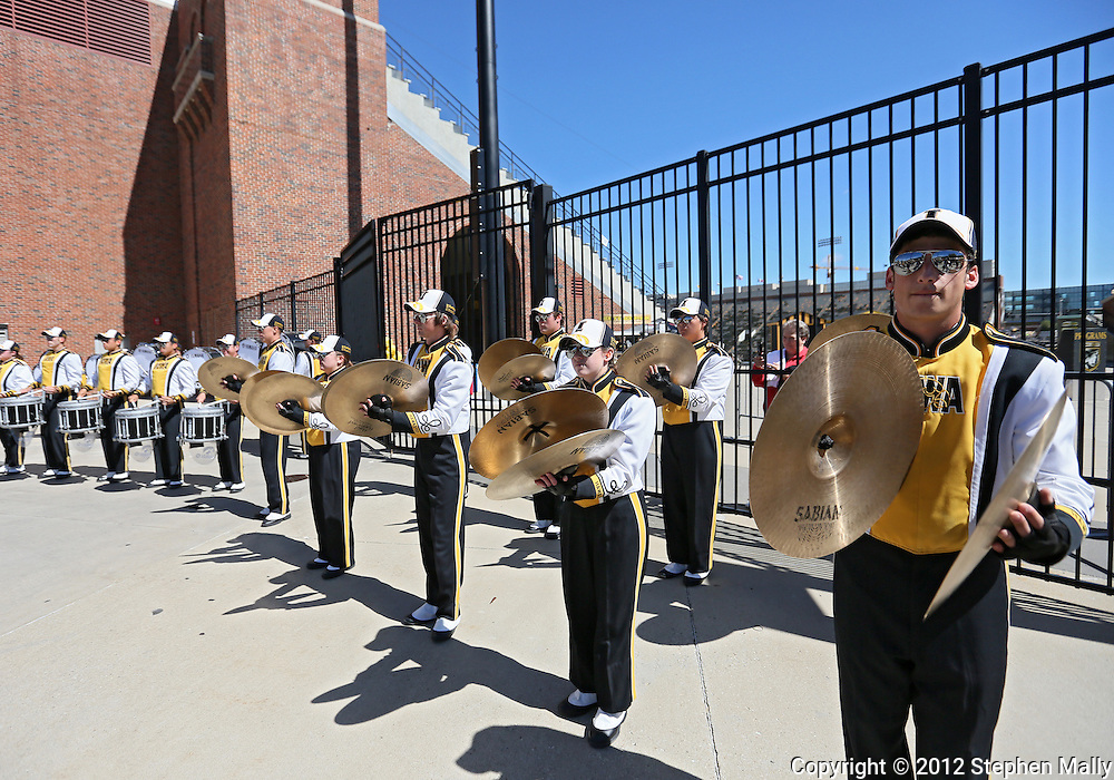 September 08 2012: The Iowa Hawkeyes marching band drum line plays before the start of the NCAA football game between the Iowa State Cyclones and the Iowa Hawkeyes at Kinnick Stadium in Iowa City, Iowa on Saturday September 8, 2012. Iowa State defeated Iowa 9-6.