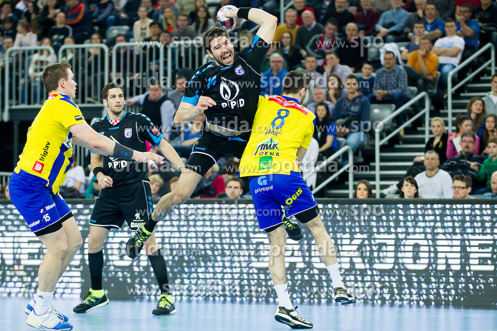 Luka Sebetic of PPD Zagreb during handball match between PPD Zagreb (CRO) and RK Celje Pivovarna Lasko (SLO) in 13th Round of Group Phase of EHF Champions League 2015/16, on February 27, 2016 in Arena Zagreb, Zagreb, Croatia. Photo by Urban Urbanc / Sportida