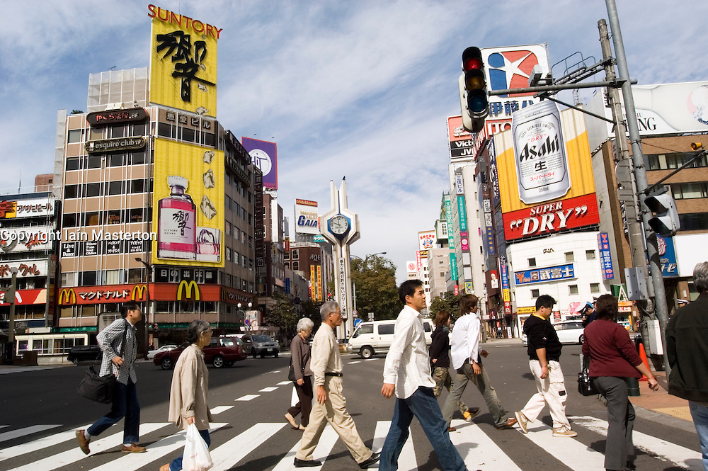Busy street crossing in Susukino district of Sapporo in Hokkaido Japan